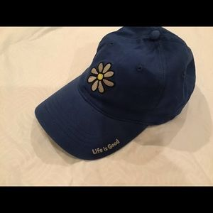 Life Is Good Accessories - Life Is Good ball cap NWT Indigo blue w/ flower